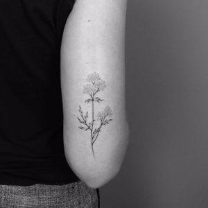 Subtle flower tattoo by Lara Maju #fineline #LaraMaju #blackandgrey #blackandgray #finelineblackandgrey #minimalistic #linework #small #flower