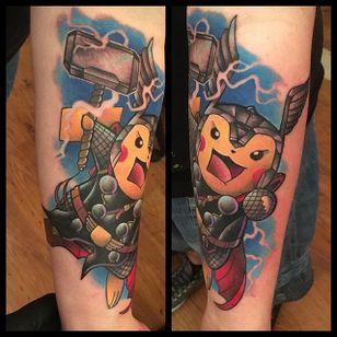 Thor Pikachu Tattoo by Andy Walker #thor #pikachu #pokemon #pokemongo #pokemonart #popculture #AndyWalker