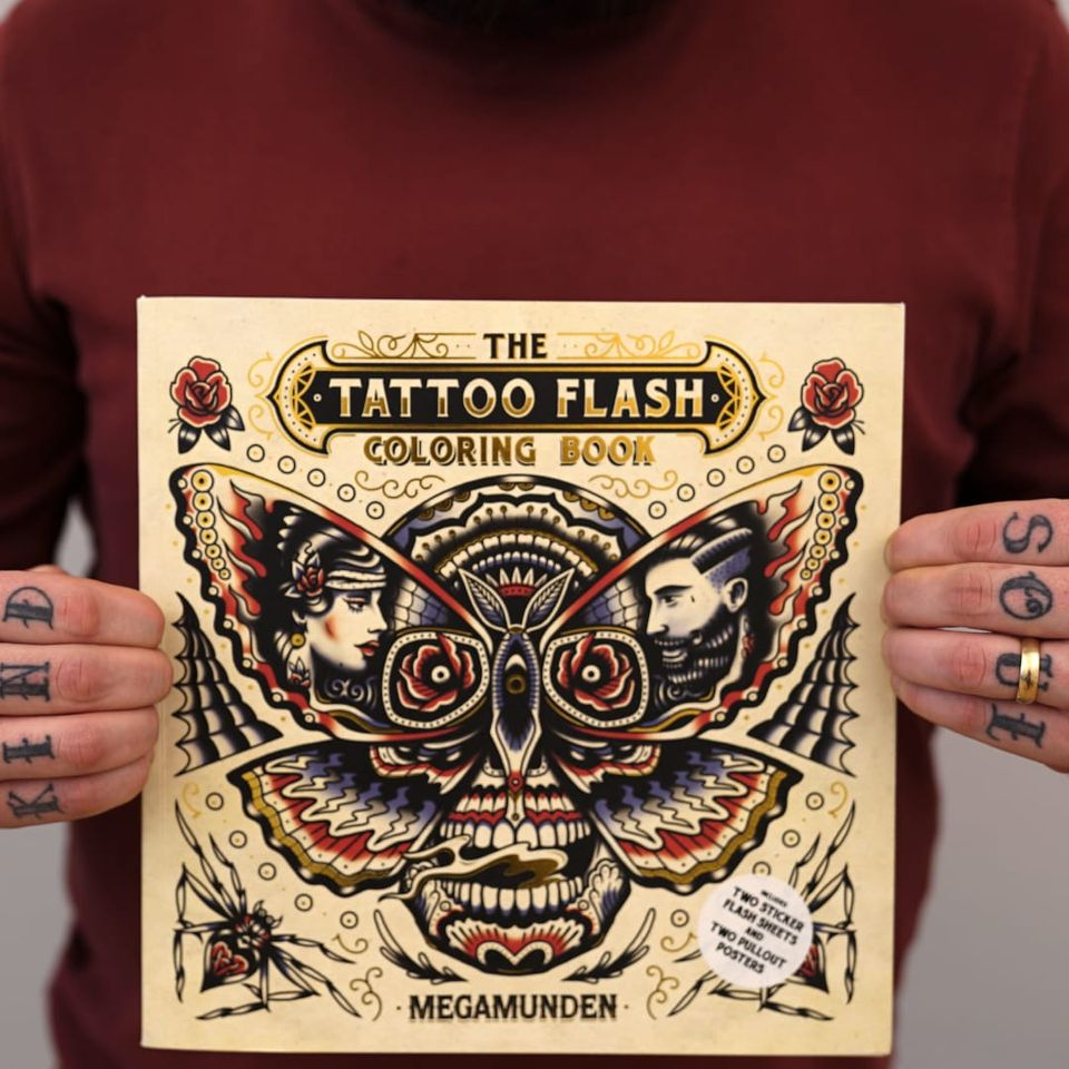 Ollie Munden's newest title, The Tattoo Flash Coloring Book. #bookreview #coloringbook #flashdesign #MEGAMUNDEN #OllieMunden