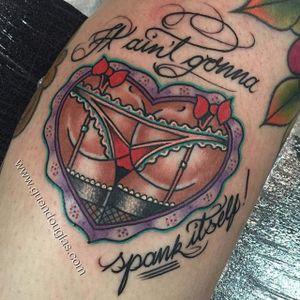 Spanky bum tattoo by @Guen_Douglas. #GuenDouglas #traditional #butt #bum #sexy #underwear #nsfw #heart