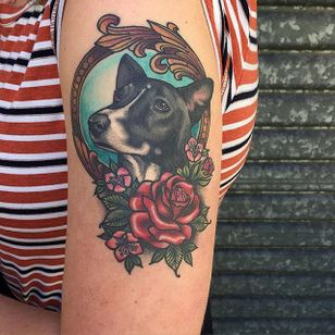 Healed puppy portrait by Sami Locke. #dog #portrait #petportrait #neotraditional #frame #flowers #SamiLocke