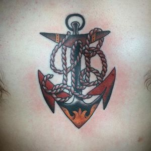 Rope and anchor tattoo by Nick Rutherford. #traditional #NickRutherford #tattooflash #anchor #rope