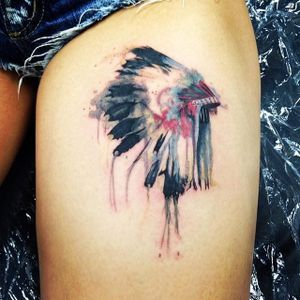 Headdress Tattoo by Andy Ward #headdress #nativeamerican #nativeamericanheaddress #indian #indianart #AndyWard