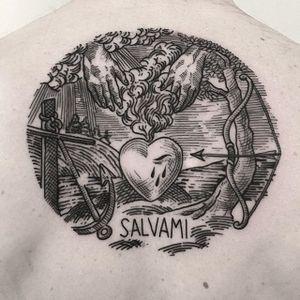 Heart Tattoo by Massimo Gurnari #heart #anchor #love #blackwork #illustrative #darkart #etching #linework #MassimoGurnari