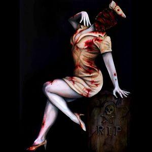 A pinup Silent Hill nurse tribute Painting by Martin Darkside. #MartinDarkside #prettypieceofflesh #darkart #tattoedartist #UKpainter #pinupgirls #horror #oilpainting #bradford #SilentHill #nurse