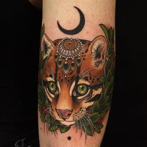 Wildcat with gems by Antony Flemming. #antonyflemming #neotraditional #cat #gems #wild