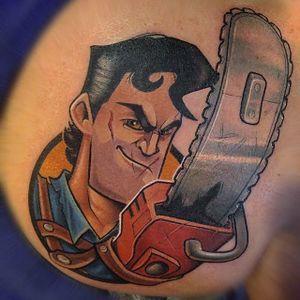 Evi Dead Ash Tattoo by Thom Bulman #evildead #evildeadtattoo #newschool #popculture #popculturetattoos #newschoolpopculture #boldtattoos #popcultureartist #ThomBulman
