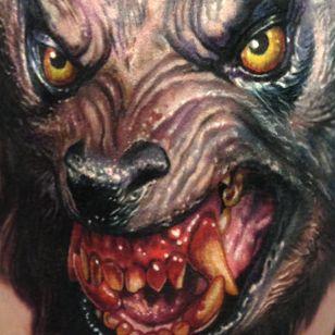 Werewolf by Paul Acker (via IG-paulackertattoo) #horror #horrorrealism #portrait #color #realism #halloween #werewolf #PaulAcker