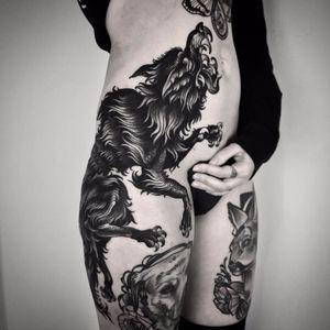 Running with the wolves by Matteo Aldenti #Maldenti #MatteoAlDenti #wolf #dog #blackandgrey #blackwork #linework #tattoooftheday