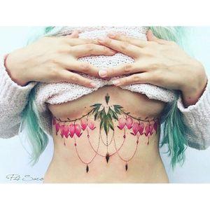 Underboob tattoo by Pis Saro. #PisSaro #floral #placement #flower #ladies #women #ideas #gorgeous #underboob