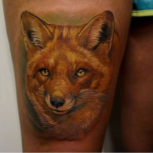 Another realistic fox tattoo. #GienaRevess #realistic #realism #3D #photorealism #fox