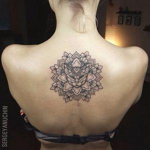 Mandala cat tattoo by Sergey Anuchin #SergeyAnuchin #linework #geometric #ornamental #mehndi #mandala #cat