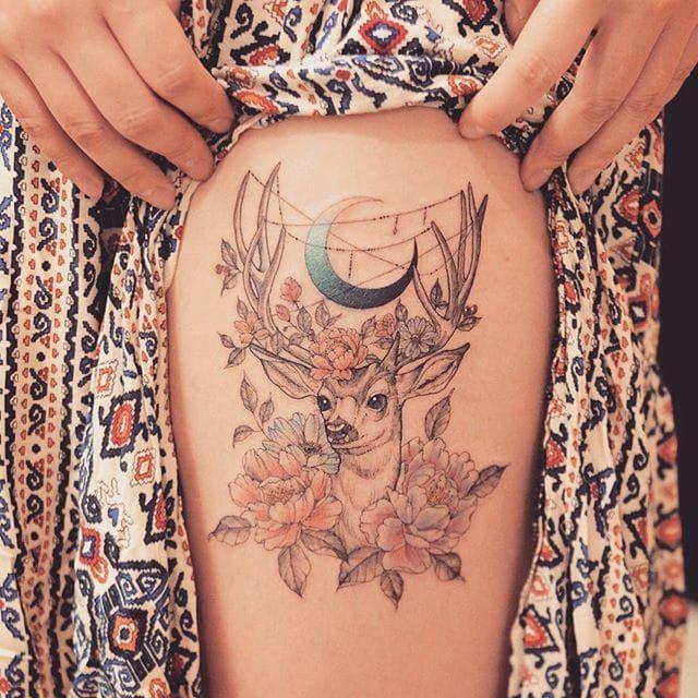 Lovely deer tattoo by Grain. #Grain #TattooistGrain #fineline #animals #deer #stag #flower #flowers #crescentmoon #moon #flora #fauna