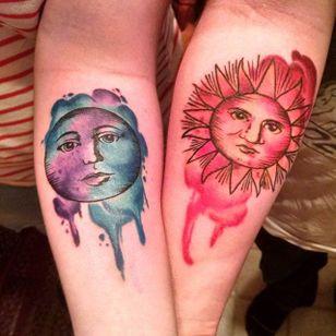 Sun Moon Tattoo by Alicia Baker #matchingtattoos #couplestattoos #couple #AliciaBaker