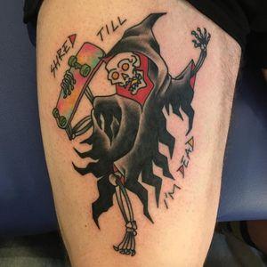 Grim Reaper skater. (via IG - abcelectric) #Skateboard #Skateboarding #SkateboardTattoo #SkateboardingTattoo