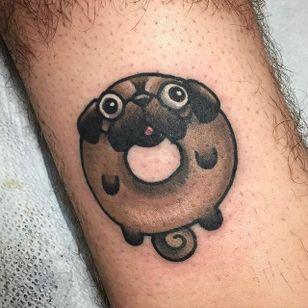 Donut tattoo by Christina Hock. #ChristinaHock #DolorosaTattooCo #donut #pug