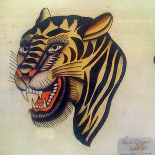 The original piece of flash featuring Bert Grimm's outstanding take on a tiger. #BertGrimm #flash #tattoohistory #tiger #traditional