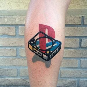 PlayStation-inspired tattoo by Mattia Mambo. #MattiaMambo #Mambo #deconstructivism #playstation #sony #nostalgia #videogames #retro #childhood #controller