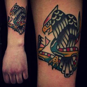 Rad snake vs. eagle tattoo by Mark Cross. #MarkCross #rosetattooNYC #TraditionalTattoo #BoldTattoos #eagle #snake