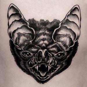 A very dark bust of a vampire bat by Ilja Hummel (IG— iljahummel). #black #illustrative #IljaHummel #vampirebat