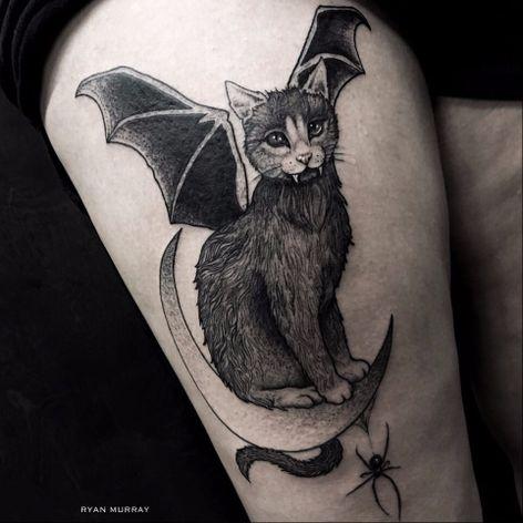 Blackwork vampire cat tattoo by Ryan Murray. #RyanMurray #blackwork #dark #macabre #blackveilstudio #cat #vampire