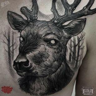 Stag Head Tattoo by Alex Underwood #stag #stagtattoo #blackworkstag #blackwork #blackworktattoo #blackworktattoos #blacktattoos #blackink #blackworkartists #AlexUnderwood