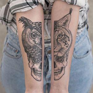 Nature's Own by Valentin Hirsch #ValentinHirsch #linework #dotwork #realistic #realism #illustrative #owl #bobcat #cat #forest #skull #bones #death #feathers #fur #tattoooftheday