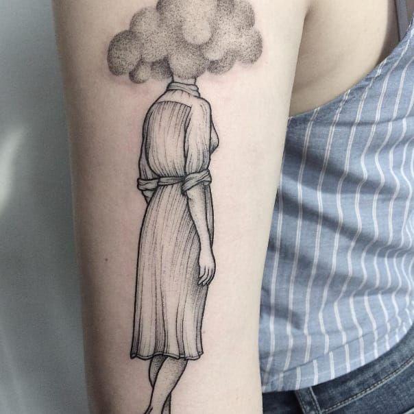Pointillism tattoo by Anna Neudecker. #pointillism #dotwork #AnnaNeudecker #cloud #woman