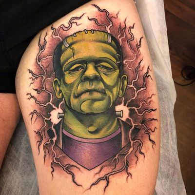 Frankensteins Monster Tattoo by Ebony Mellowship #EbonyMellowship #color #neotraditional #newtraditional #movietattoo #frankenstein #franksteinsmonster #monster #zombie #undead #electricity #lightning #horror #tattoooftheday