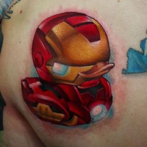 Iron Man rubber ducky tattoo by Steven Compton. #newschool #rubberduck #StevenCompton #rubberducky #ironman
