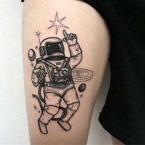 Astro Man Tattoo by Nhat Be #astronaut #blackwork #blackink #blackworkartist #darkartist #vietnam #NhatBe