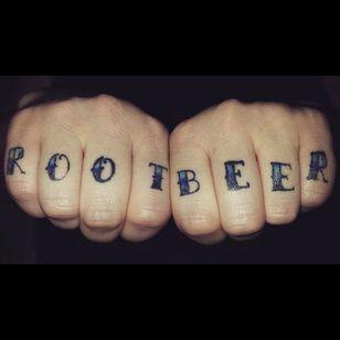Hardcore root beer knuckle tattoo (via IG -- amber_cadabra) #rootbeer #rootbeertattoo