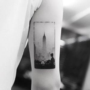 Fine-line blackwork tattoo by Balazs Bercsenyi. #BalazsBercsenyi #fineline #blackwork #contemporary #newyork #empirestate #nyc