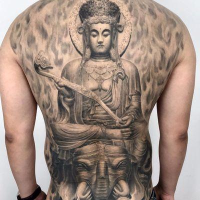 The compassionate Buddha by Heng Yue #newassasin #HengYue #blackandgrey #realism #realistic #statue #sculpture #Buddha #Buddhism #elephant #smoke #sun #nature #religious #jewelry #tattoooftheday
