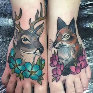 Deer and Fox Tattoo by Charlotte Timmons @charlotte_eleanor88 #color #illustration #neotraditional #fox #deer #flowers #charlottetimmons #charlotte_eleanor88