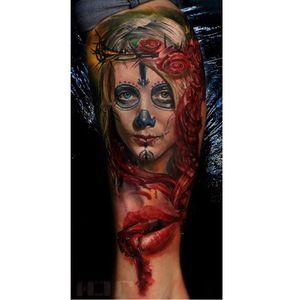 Photo-Realistic La Catrina Tattoo By Iwan Yug #lacatrina #IwanYug #photorealistictattoos #realistictattoos #3Dtattoos