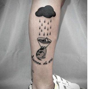 Poor dog tattoo by Ophélie Taki #OphélieTaki #illustrative #blackwork #childhood #dog #rain