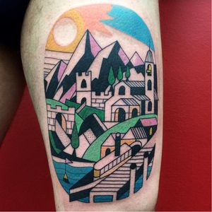 What a beautiful cityscape. Tattoo by Luca Font (Via IG - lucafont) #LucaFont #art #abstract #cubism #fineart #surrealism