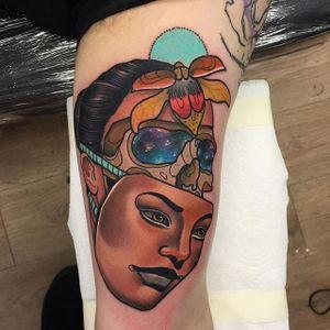 Face Tattoo by Piotr Gie #NeoTraditional #NeoTraditionalArtist #NeoTraditionalTattoos #ModernTattoos #BoldTattoos #PiotrGie
