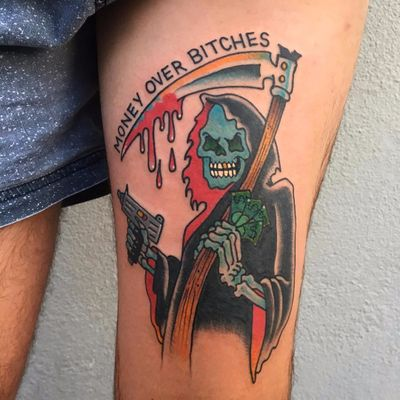 The Reaper Knows All by Keir Mcewan #KeirMcewan #color #traditional #text #font #quote #reaper #scythe #blood #skull #death #gun #money #bitches #tattoooftheday