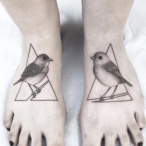 Little birds by Michele Volpi #MicheleVolpi #blackwork #dotwork #linework #birds #nature #feathers #wings #branch #triangle #shape #abstract #realism #realistic #tattoooftheday