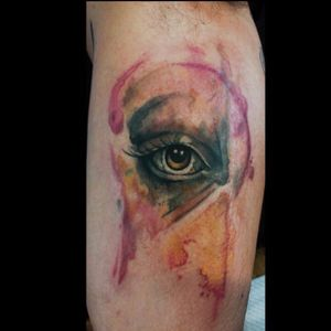Abstract watercolor eye tattoo by Nancy Tattooer. #watercolor #NancyTattooer #eye #abstract #splatter