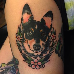 Man's best friend by Phil DeAngulo (via IG-midwestphil) #dog #pet #flowers #animal #color #traditional #bold #PhilDeAngulo