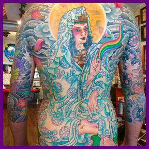 Massive and intricate Quan Yin back tattoo done by Jason Brooks. #JasonBrooks #GreatWaveTattoo #boldtattoos #TraditionalTattoo #QuanYin #backtattoo