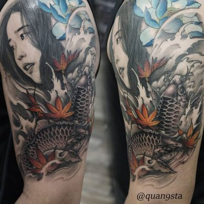 A realistic geisha above a pair of koi fish by Quang Sta (IG—quan9sta). #geisha #Irezumiinspired #koi #largescale #neoJapanese #QuangSta