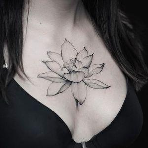Blackwork flower tattoo by Dmitriy Zakharov. #DmitriyZakharov #blackwork #dotwork #flower #floral