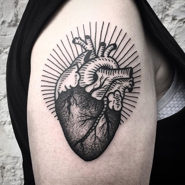 Anatomical Heart Tattoo by Michele L'Abbate #heart #anatomicalheart #blackwork #blakcworkartist #blackink #darkart #black #MicheleL'Abbate #MicheleLAbbate