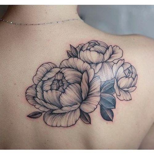Delicate peony tattoo by Sasha Masiuk #SashaMasiuk #linework #dotwork #flowers #peony