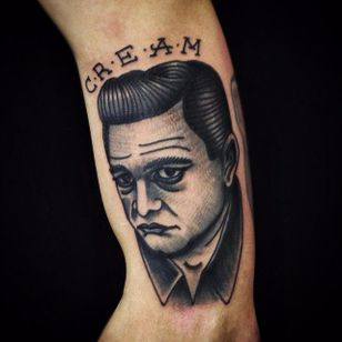 Johnny Cash Tattoo by Matt Cooley #traditional #traditionalportrait #MattCooley #JohnnyCash