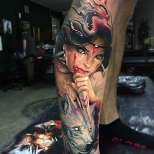 Princess Mononoke Tattoo by Ben Kaye #princessmononoke #realism #colorrealism #portrait #BenKaye